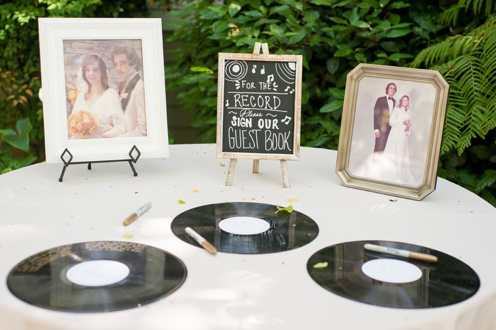 Records being used as wedding guestbook