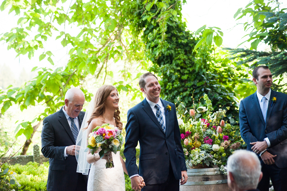 Bride and groom announced at the end of their wedding ceremony in Sebastopol