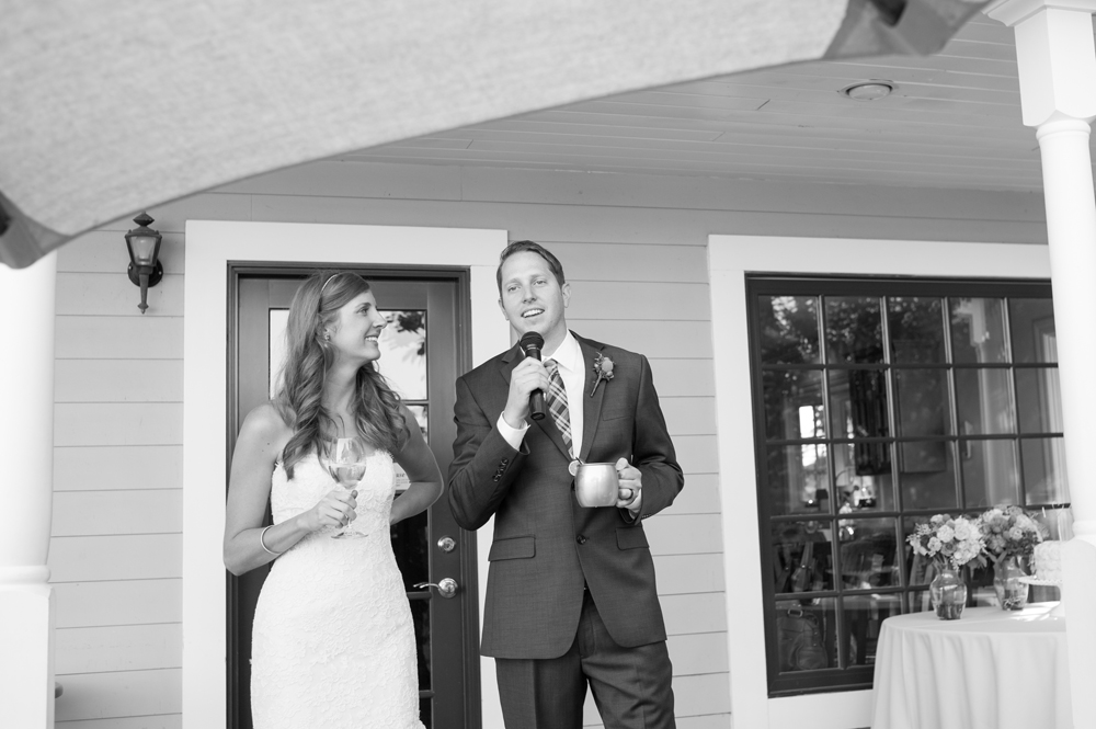 Bride and groom greeting the guests