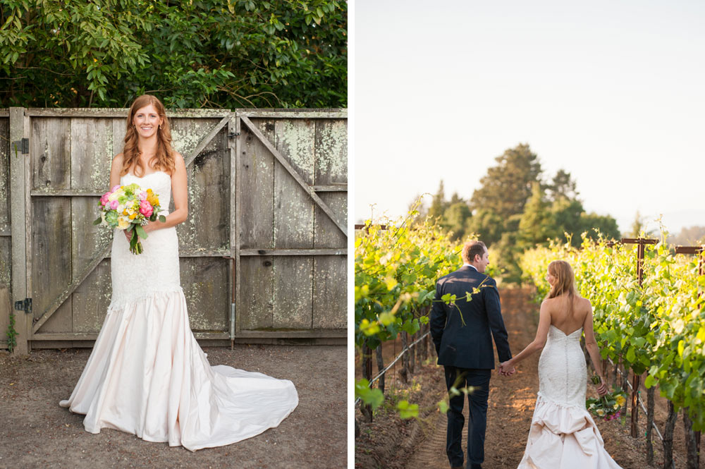 Portrait of the bride and groom on the grounds of the Vine Hill House