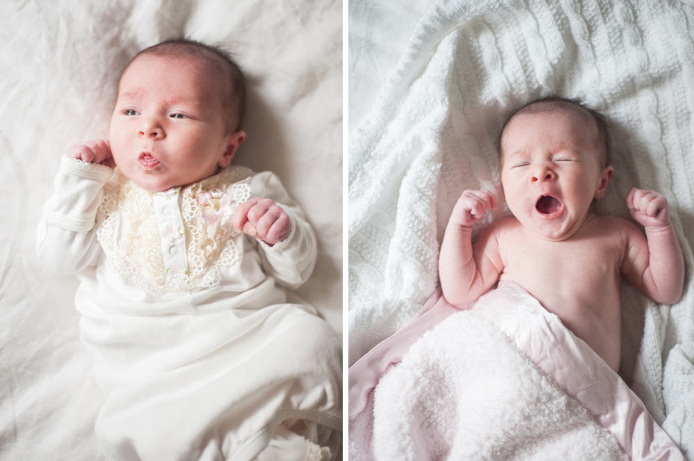 Newborn baby yawning during photo session