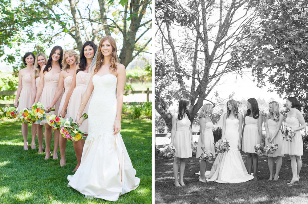 Bride and her bridesmaids at the Vine Hill House