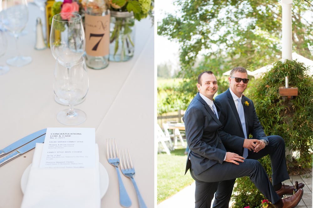 Detail of place setting and photo of relaxed groomsmen