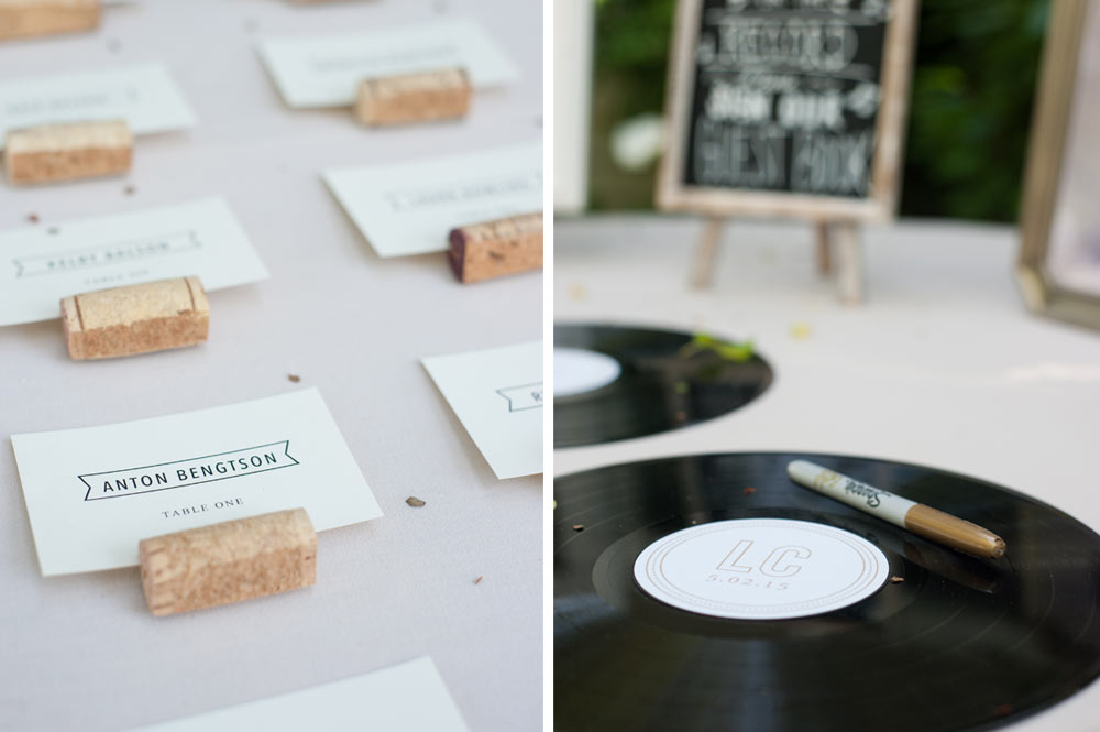 Seating name placements and vinyl LP guestbook