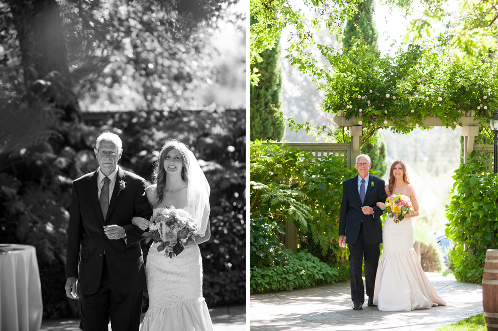 Father walking Bride down the aisle at the Vine Hill House