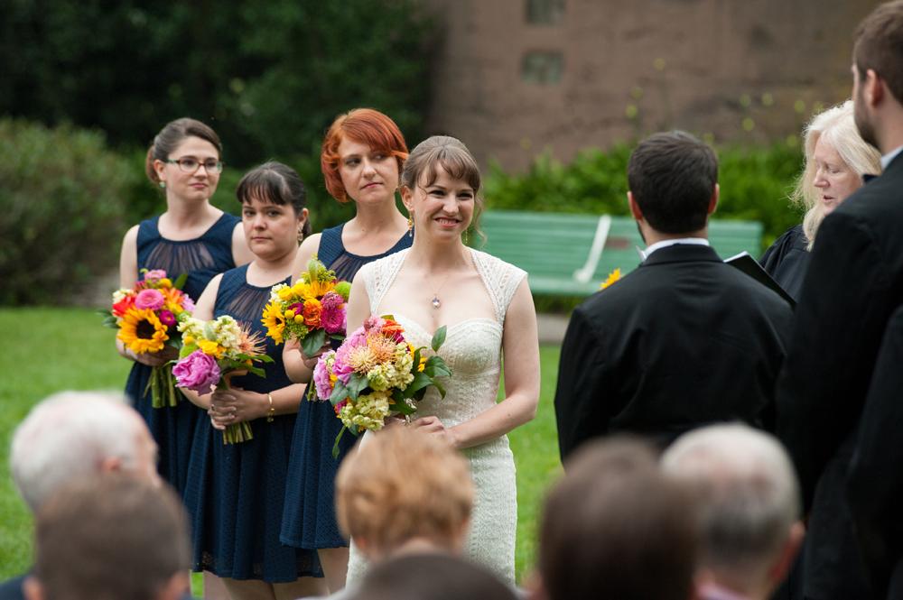 Bride and groom during wedding ceremony at Tulip Garden in San Francisco