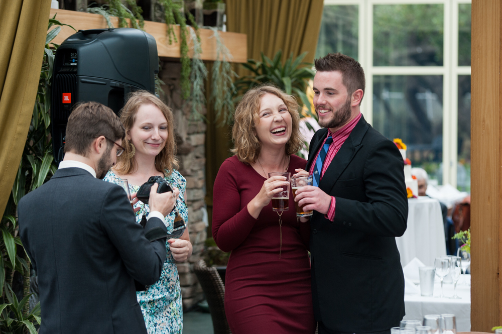 Candid of wedding guests at the Beach Chalet in San Francisco