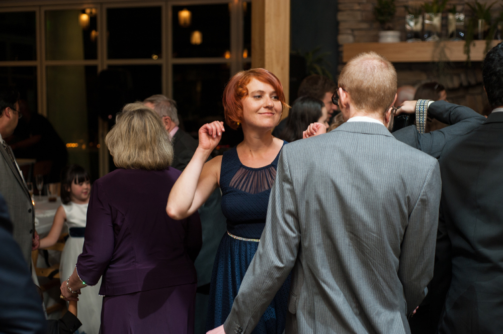 Wedding guests dancing at the Beach Chalet in San Francisco