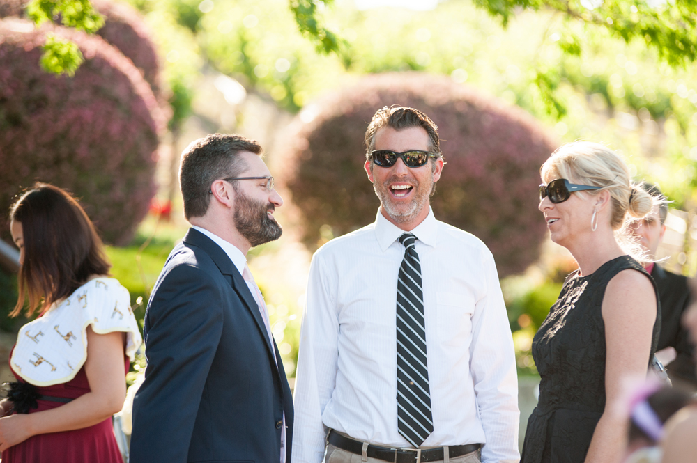 Candid portrait of guests at wedding ceremony in Livermore