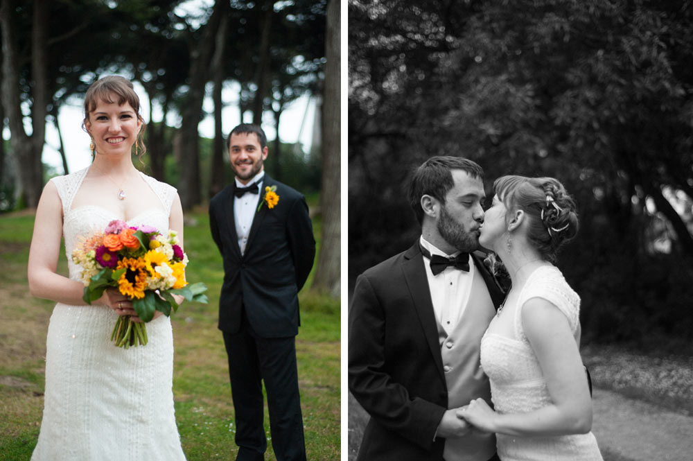 Side by side photos of bride and groom after their Tulip Garden wedding