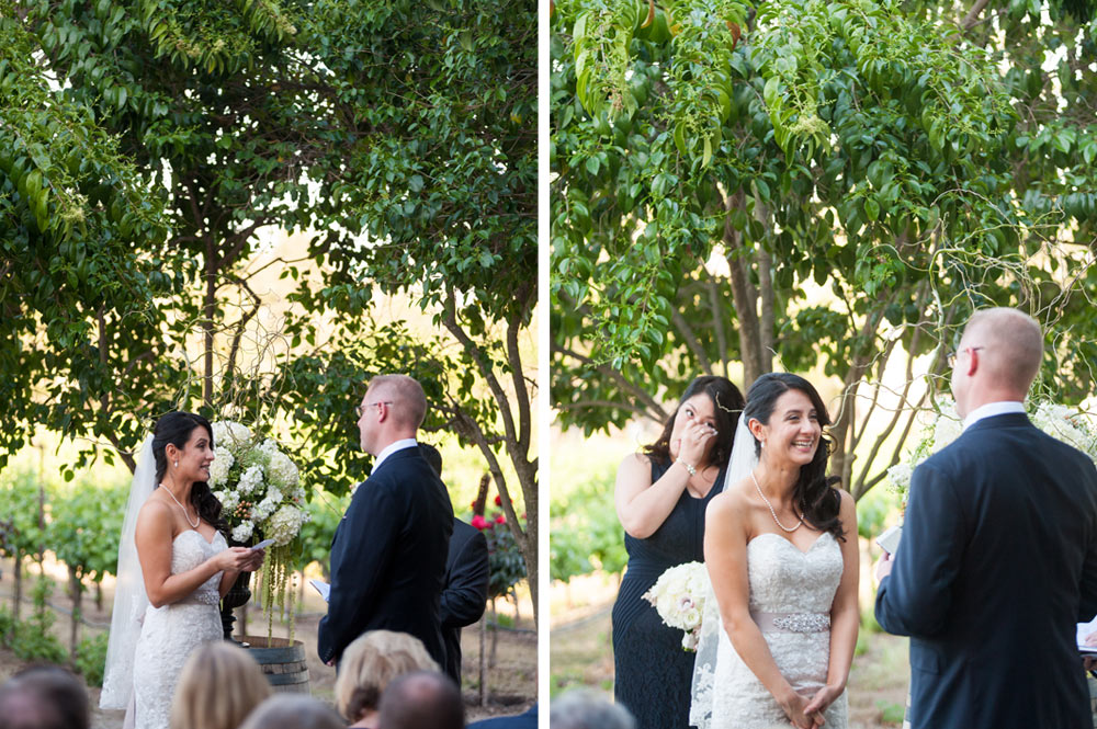 Bride and groom exchanging vows during wedding ceremony at Murrieta's Well