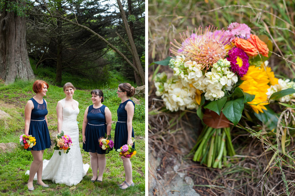 Side by side photos of bride and bridesmaids with wedding bouquet