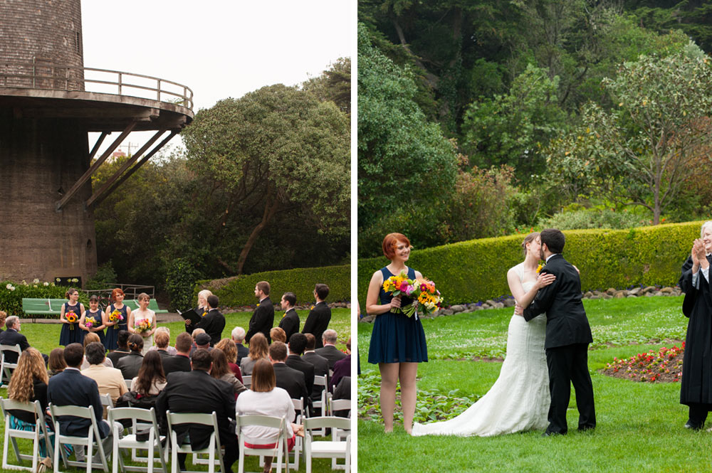 Side by side photos of wedding ceremony in Tulip Garden