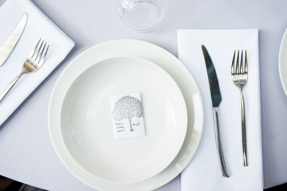 Seed packet wedding favor on plate