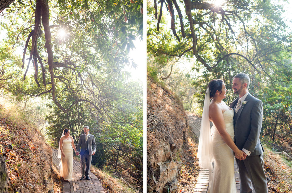 Natural light portraits of bride and groom at Scout Rock wedding in Oakland