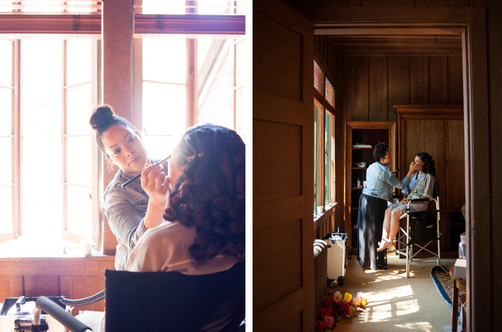 Bride getting makeup applied at the UC Berkeley Faculty Club