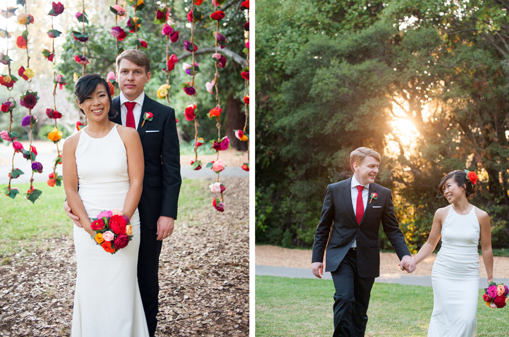 Portrait of bride and groom on the University of California Berkeley campus
