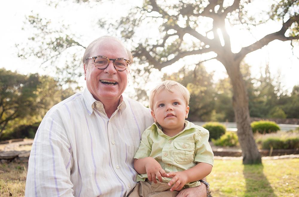 Grandpa and grandson in Oakland park