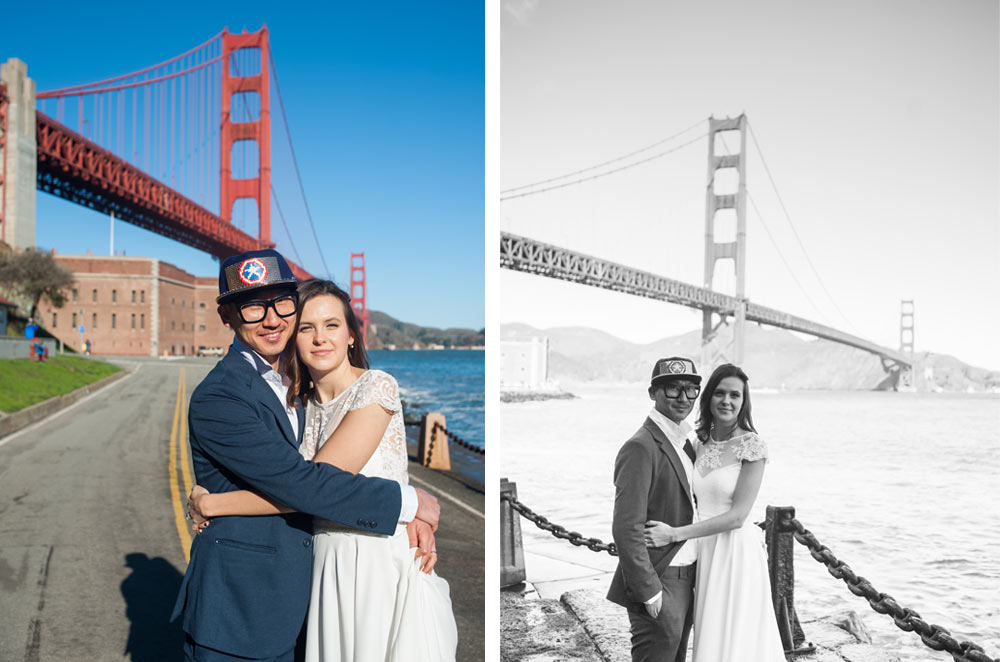 Two portraits of newlywed couple at Fort Point in San Fracnisco