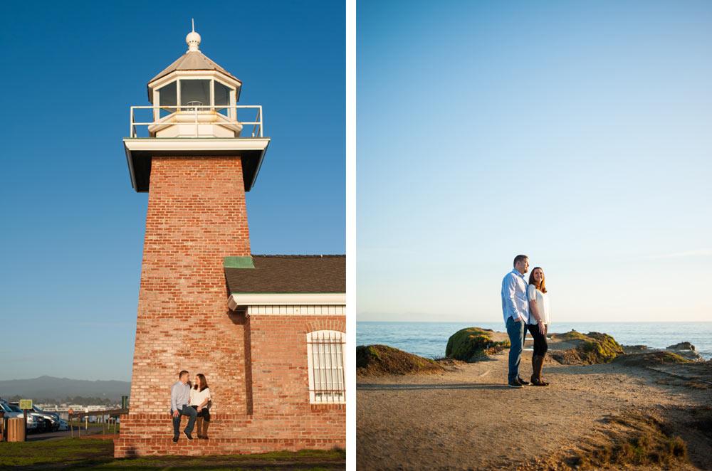Engaged couple at Santa Cruz lighthouse