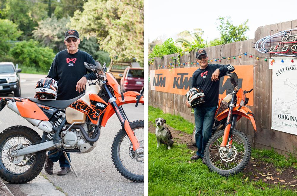 Portrait of older man with dirt bike in Oakland