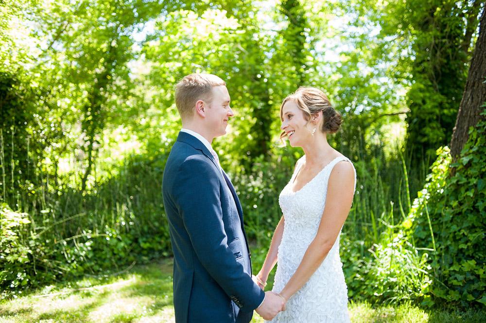 Happy bride and groom before wedding at Dawn Ranch