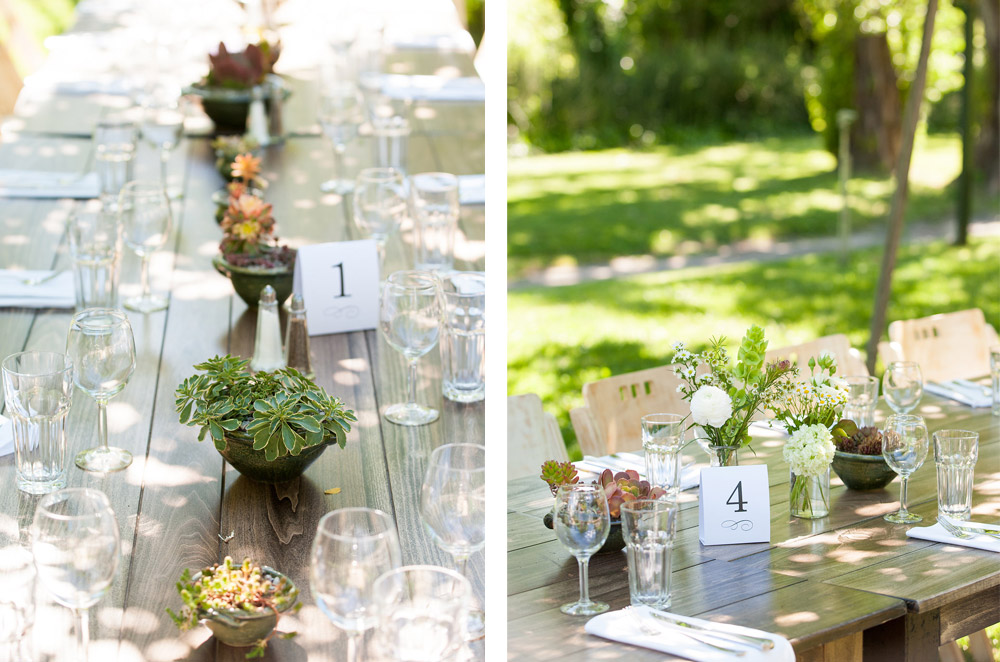 Rustic table details at Dawn Ranch wedding