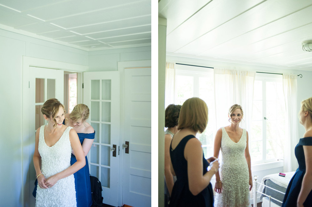 Bride getting into wedding dress before ceremony at Dawn Ranch
