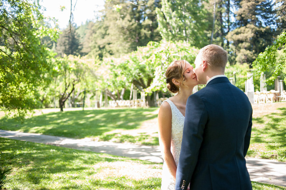 Bride and Groom during their first look at Dawn Ranch