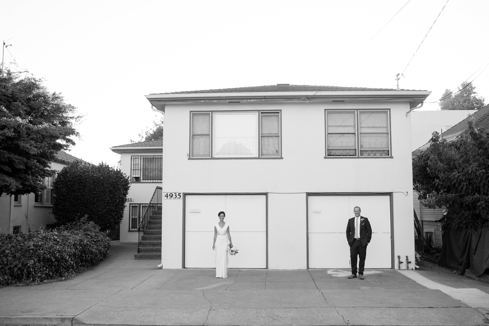 Black and white portrait of bride and groom in Temescal Oakland