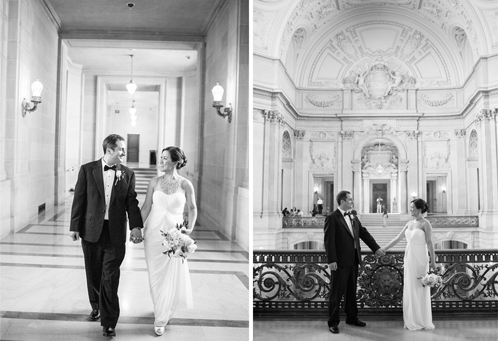 Black and white wedding portraits of bride and groom at San Francisco City Hall
