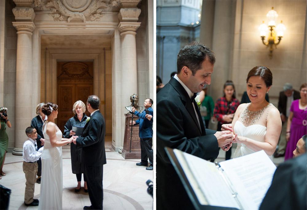 Wedding ceremony in the rotunda at San Francisco City Hall