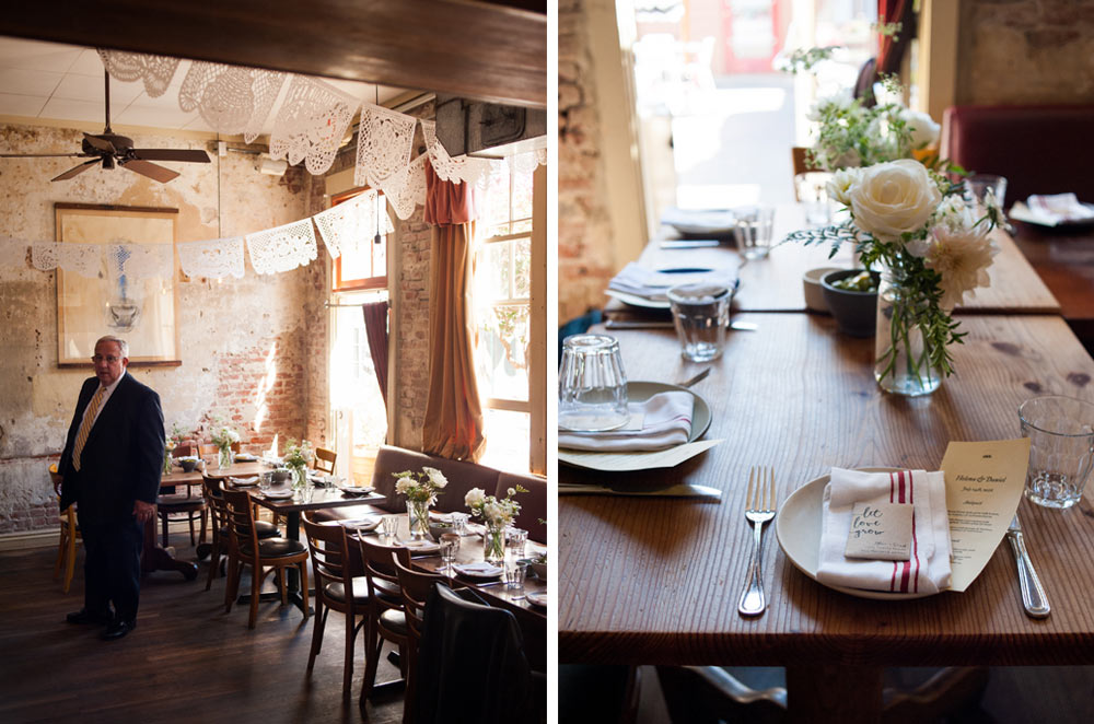 Diptych of pizzaiolo wedding setup