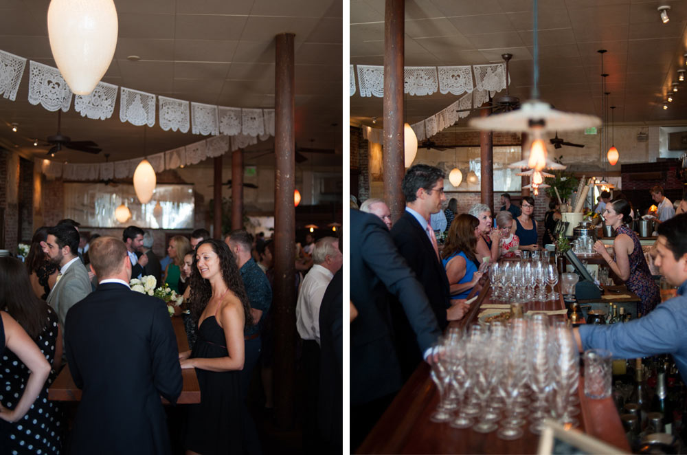 Two photos from wedding at Pizzaiolo