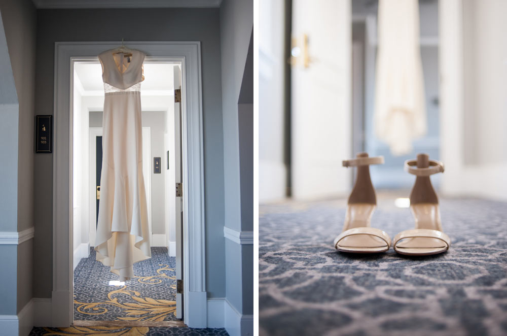 Detail of wedding dress and shoes in the Claremont Hotel in berkeley