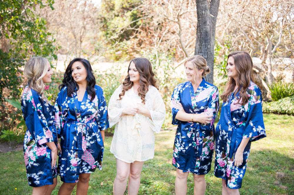 Bridesmaids in robes before wedding at Rancho Soquel