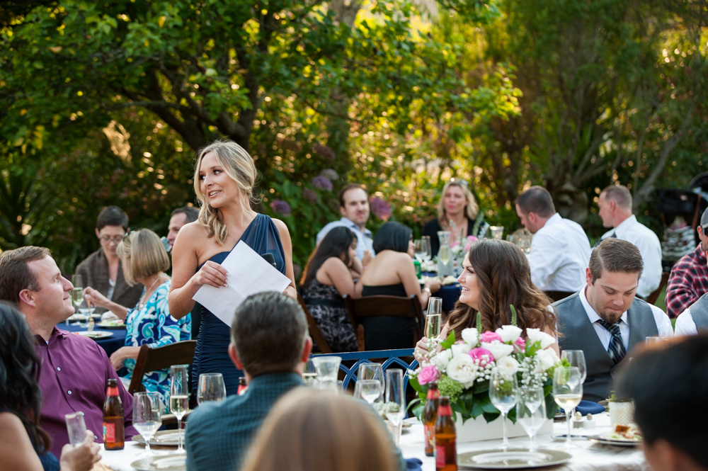 Maid of honor giving toast at rancho soquel wedding
