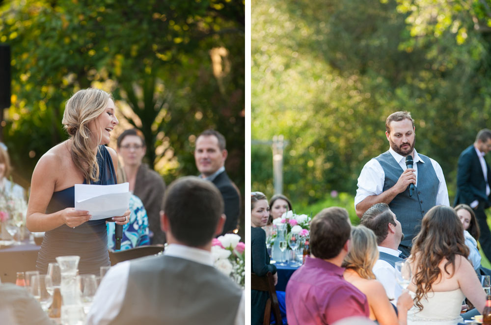 Maid of honor and officiant giving toasts at wedding