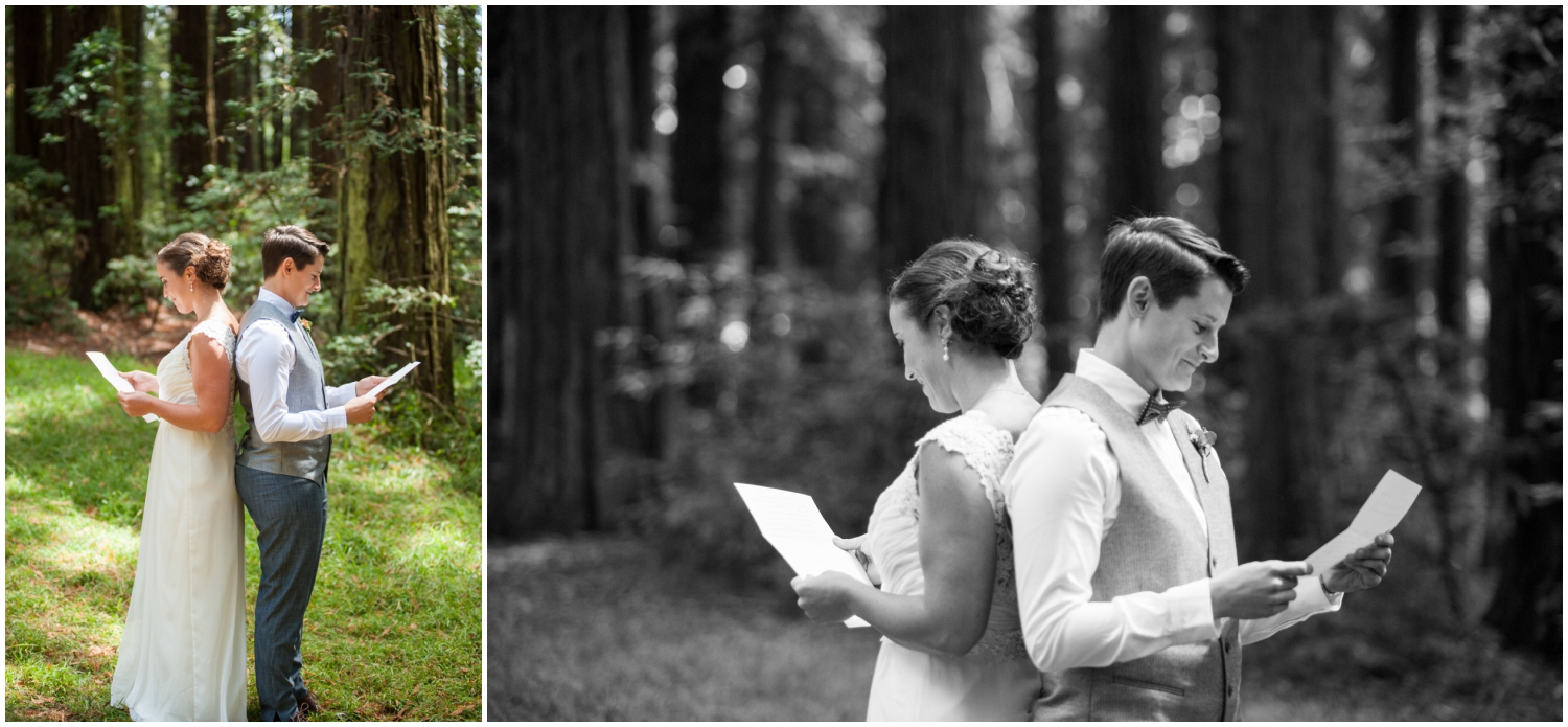 Wedding couple reading each other's letters in Oakland redwood grove before wedding