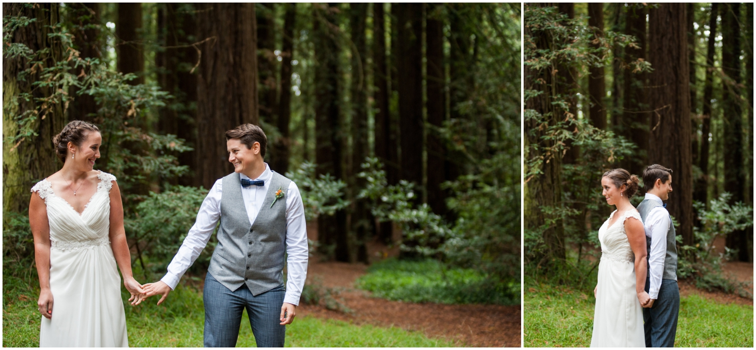 First look in the redwoods before wedding in Oakland Hills