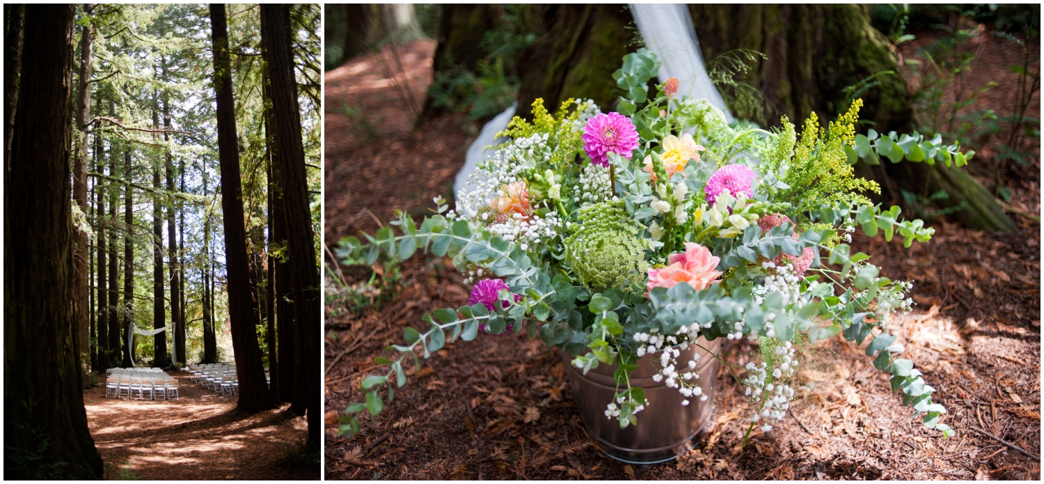 Detail photos of redwood wedding in the Oakland Hills