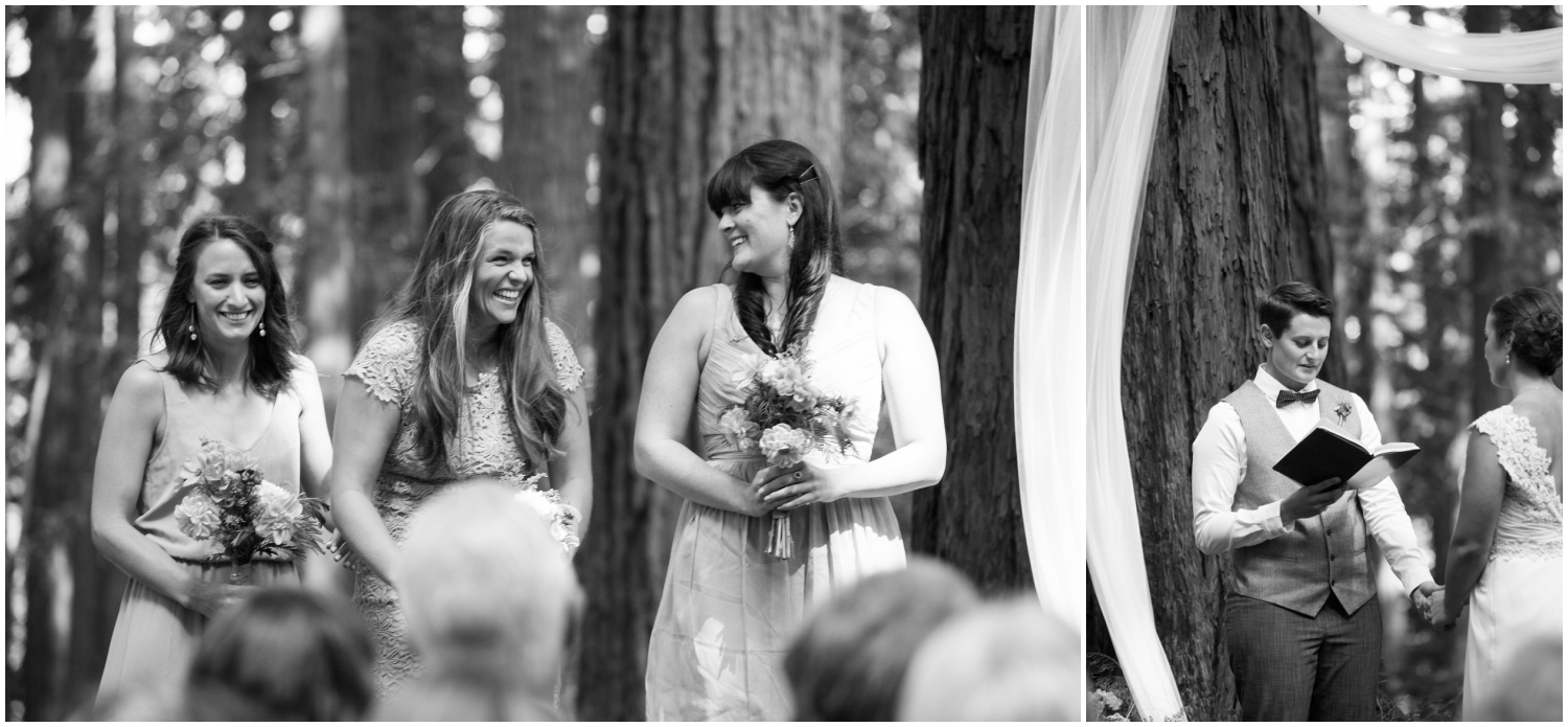 Happy bridesmaids during wedding in Oakland Hills redwoods