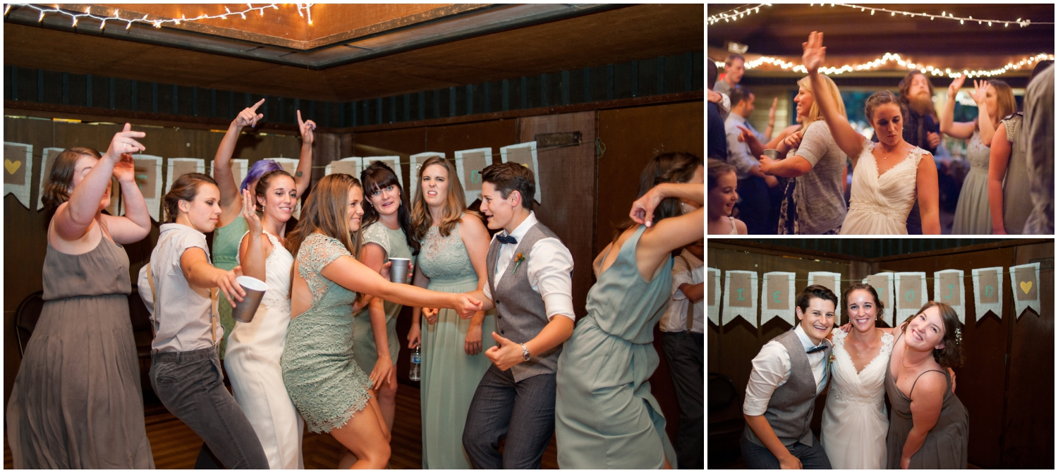 Portraits of wedding party being silly at Sequoia Lodge receptions