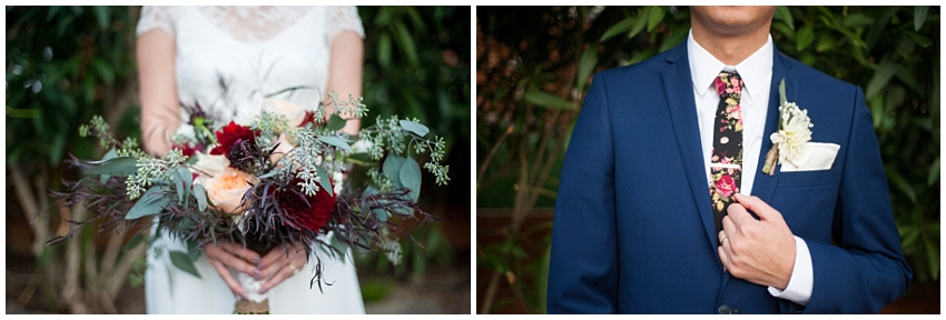 Detail of bridal bouquet and groom's boutonniere in Sunol, CA