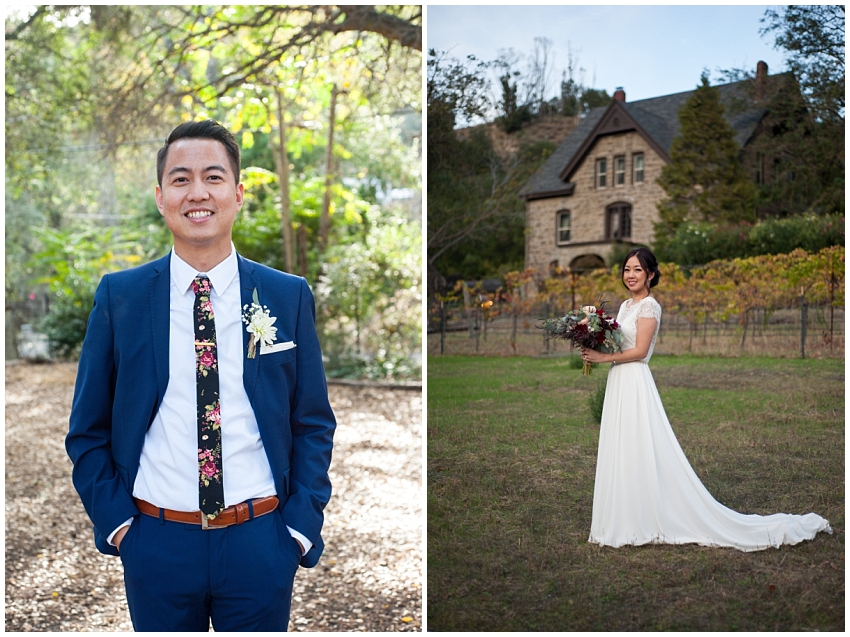 Individual portraits of Bride and Groom at Elliston Vineyards