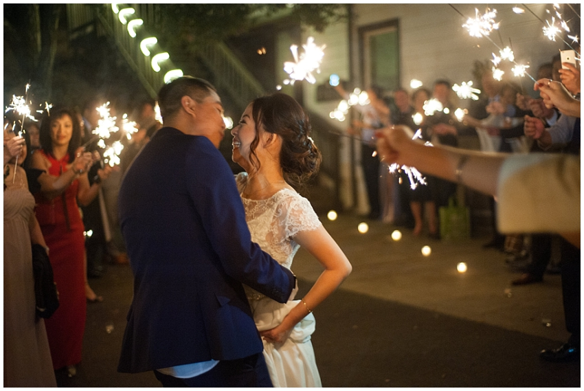 Bride and Groom kiss surrounded by sparkler send off at Elliston Vineyards