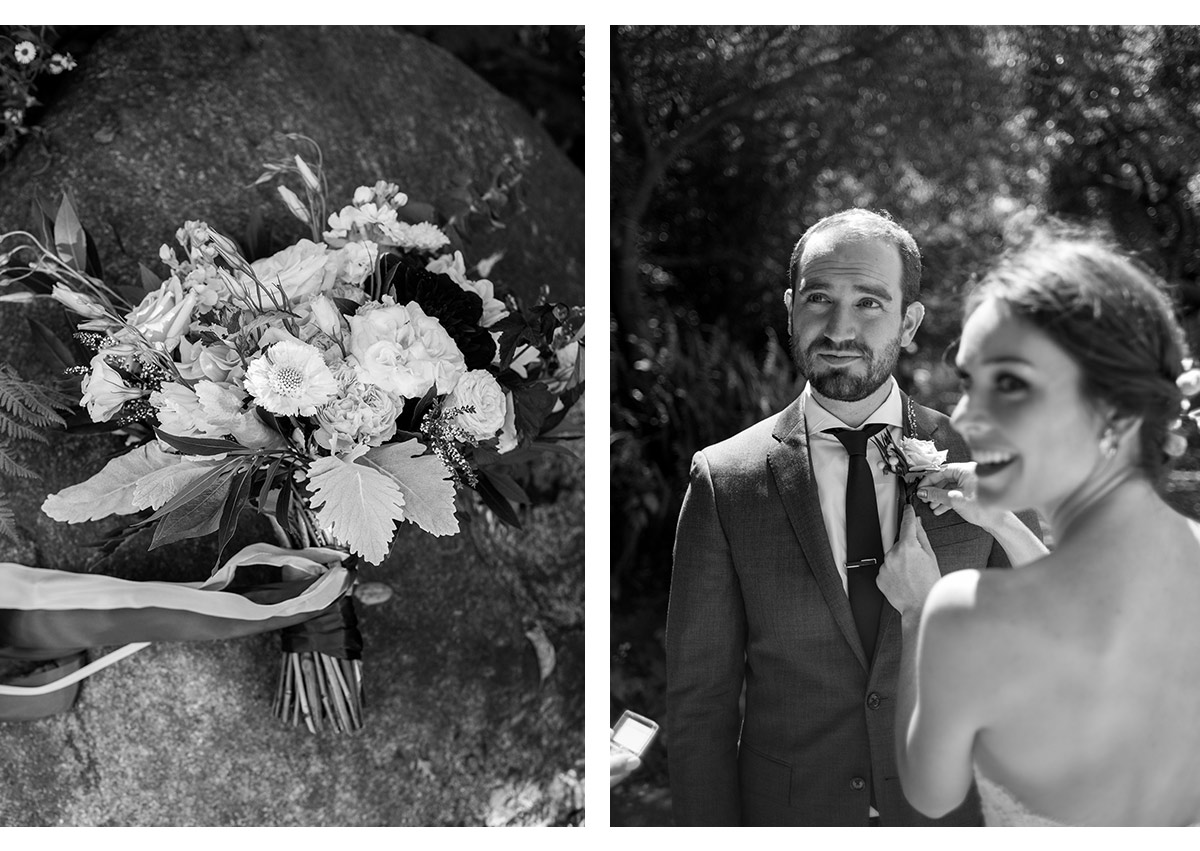 Detail of bouquet and bride applying boutonnière