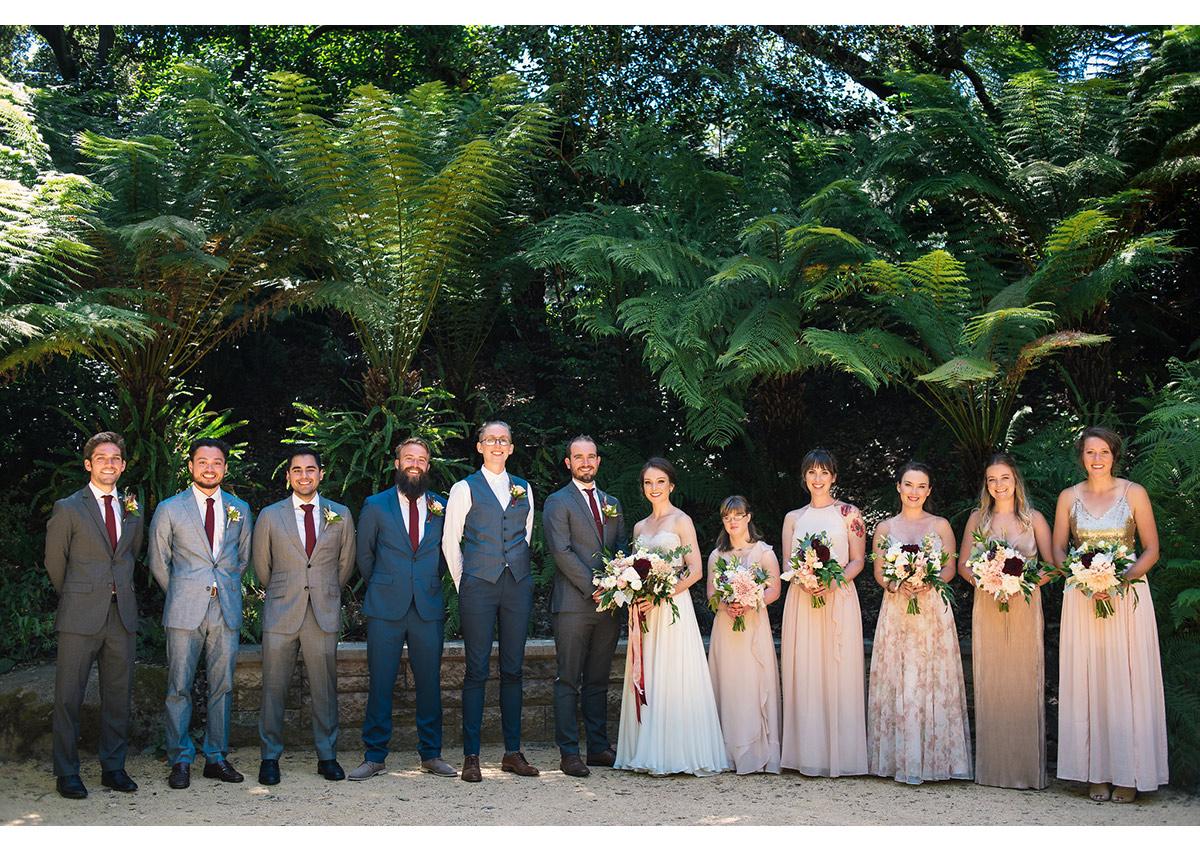 Wedding party photo in Golden Gate Park