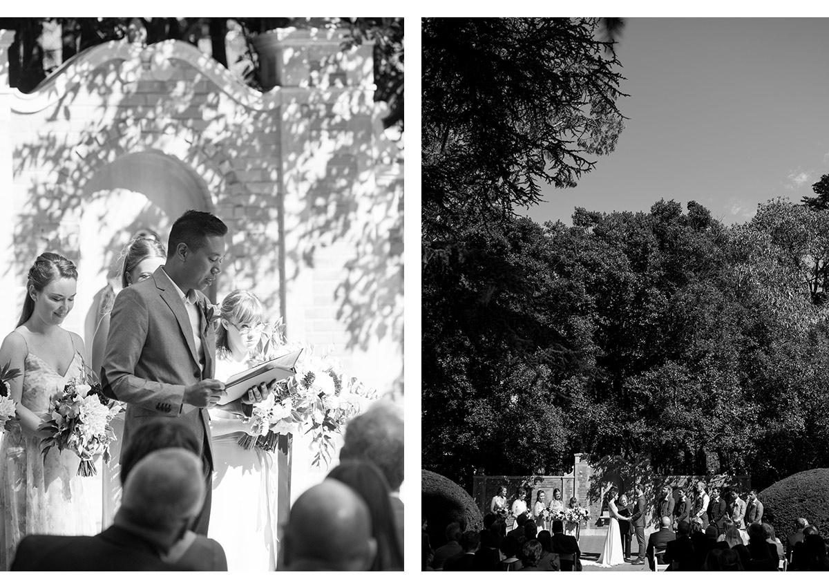 Black and white photos of wedding ceremony