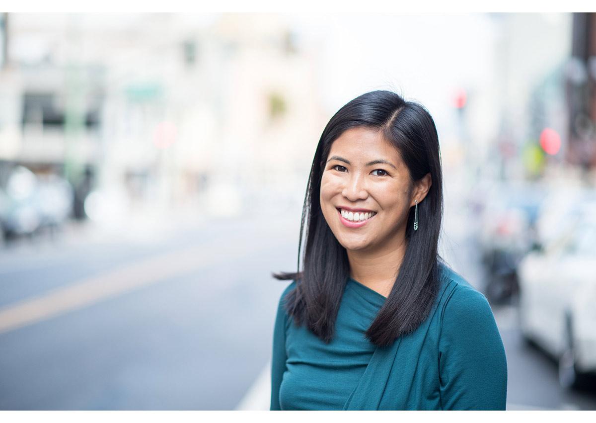 Portrait of businesswoman in downtown oakland